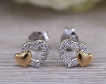 240fc92a6 Double heart stud earrings, solid 925 sterling silver 18 ct gold plated  with diamond white C Z, ideal for all ages. Real gold look