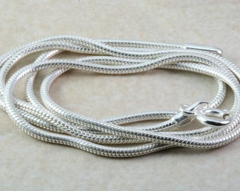 Sterling Silver Pendant Chain. Silver Snake chain. Choice of 18 inch or 20 inch. Perfect for pendants or worn on its own. Silver Necklace.