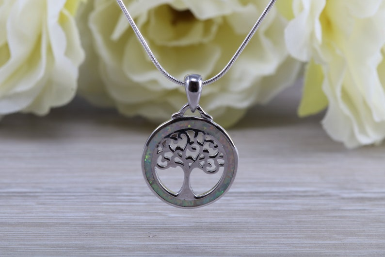 Tree of Life necklace set with fiery White Opal sterling silver ring further rhodium plated for that platinum look
