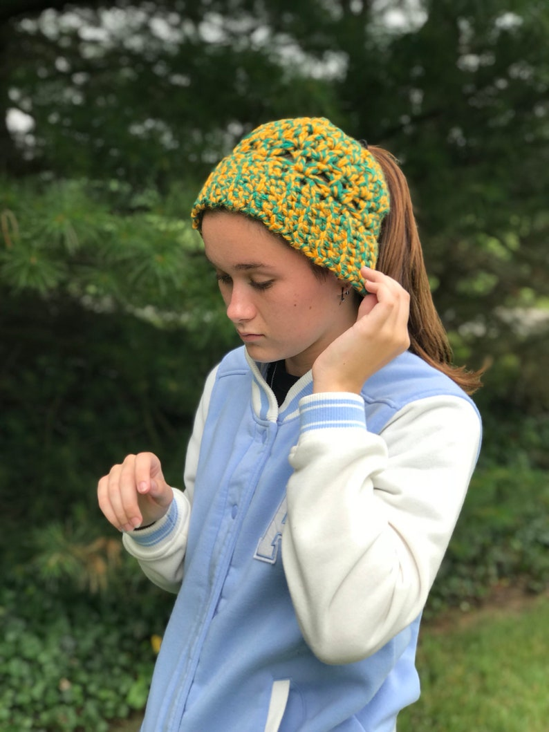 4a1aa948 Green & Gold Cheerleader Beanie Ponytail Hat Winter Weather   Etsy