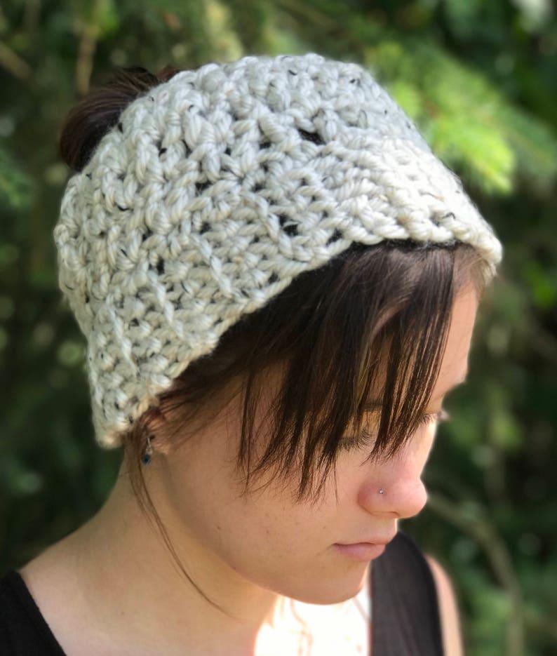 7c3c5bac Light Gray Tweed Crochet Messy Bun Hat Ponytail Hat Chunky   Etsy
