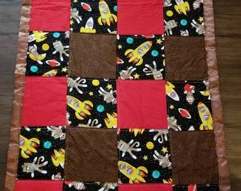 Sock monkeys in space toddler blanket