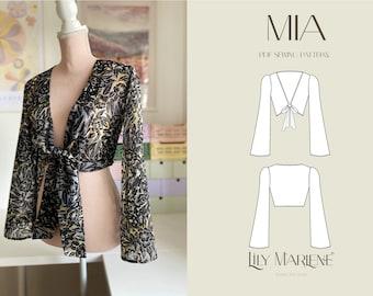 Mia Flare Sleeve Crop Top PDF Sewing Pattern Size 4-24 (UK)
