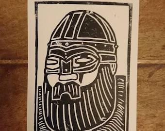 Odin Linocut Print