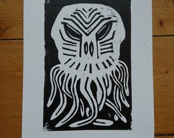 The Old Ones Linocut Print
