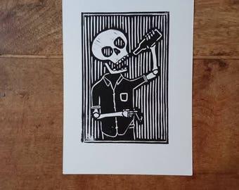 Breakfast Linocut Print