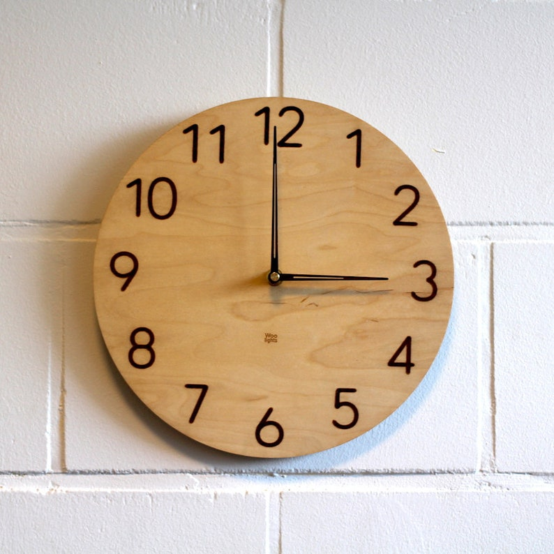 Wood Wall Clock Modern Wall Clock Clock Made Of Plywood Etsy