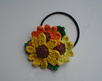 Sunflower Hair Accessories, Crochet Cotton Sunflower Hair Tie, Women's Hair Accessories, Hair Accessories for Girls, Kids Hair Accessories