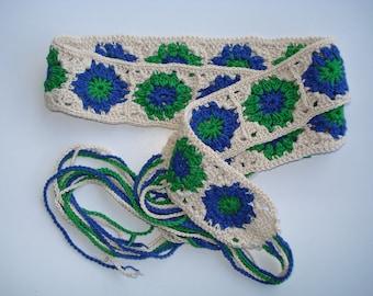 Hippie Crochet Belt, Boho Belt, Women's belt,  Granny Square Cotton Belt, Hippie Belt, Mothers Day Gift, Boho Gift, Hippie Gift