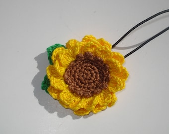 Sunflower Hair Tie for girls, Crochet Cotton Sunflower Hair Tie, Girl's Hair Accessories, Kids Hair Tie, Gift for Girls, Boho gift for kids