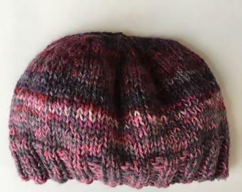 Hand knit baby beanie