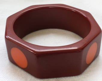 "Vintage BAKELITE Octagon POLKA DOT Shultz? 1"" Wide Bangle Bracelet 8 Sided"