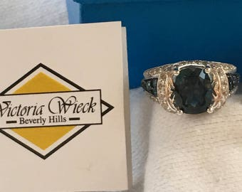 1990s NOS Victoria WIECK Sterling Silver Absolute Sapphire Ring HSN