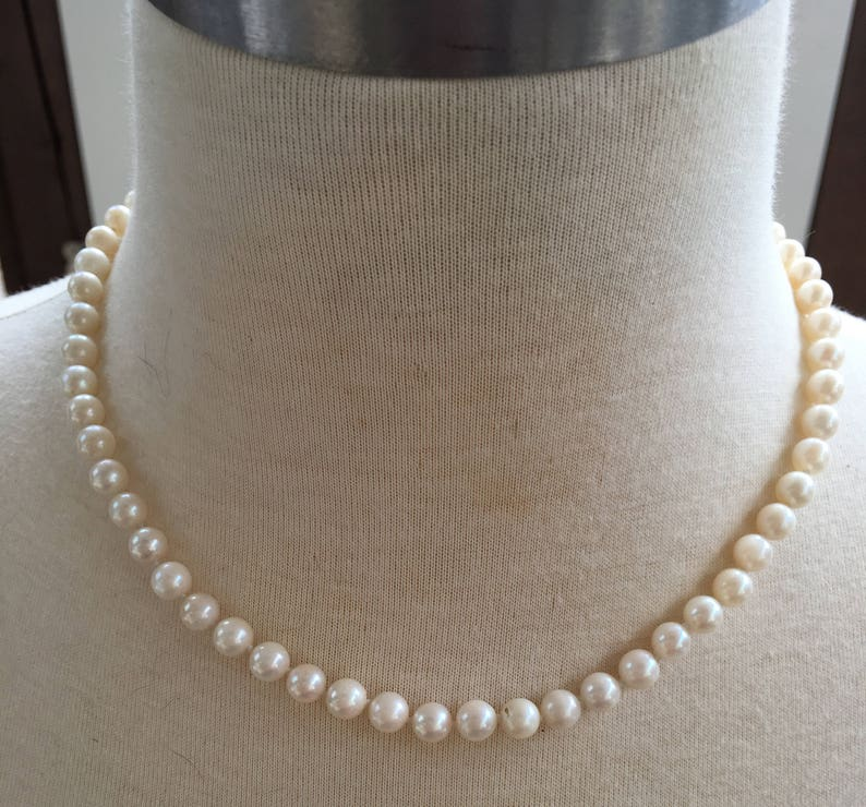 158bbc915a107 HSN 14k Clasp Cultured PEARL NECKLACE 6+mm 17