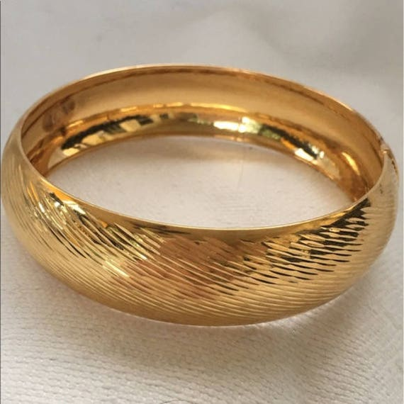 5a7751fe30a50 1990s HSN Sterling Silver Gold Wash Vermeil Hinged BANGLE BRACELET nos New  Old Stock