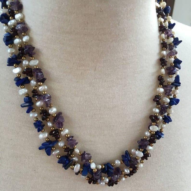 9fda23b389ce5 1990s HSN 3 Strand BLUE LAPIS Pearl Black Onyx Amethyst Necklace Retired nos