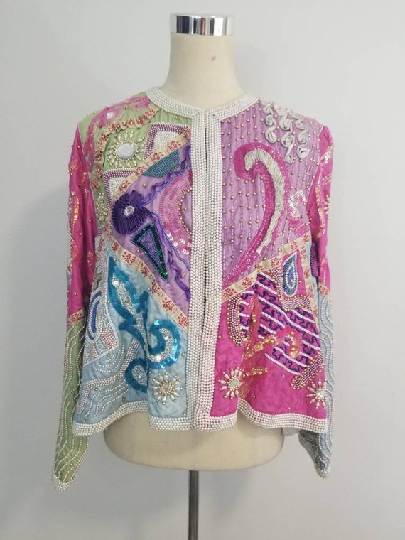 Jacket Ann Judith Beaded Ribbon Vintage z7wYpvqq
