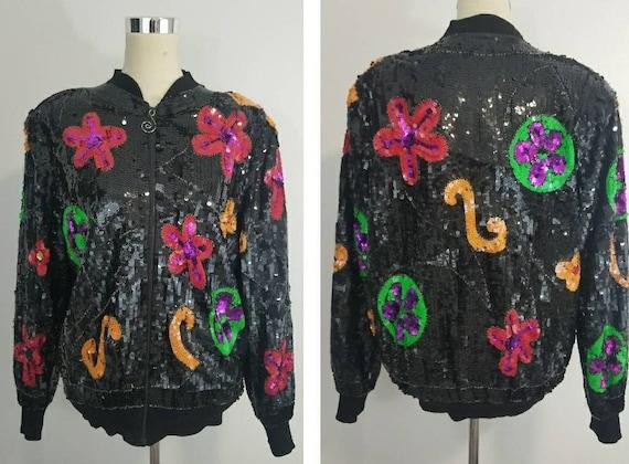 Vintage Sequin Bomber Jacket / Flower Power / Nove