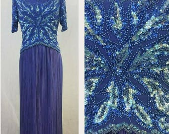 Blue Vintage Beaded and Sequined Gown