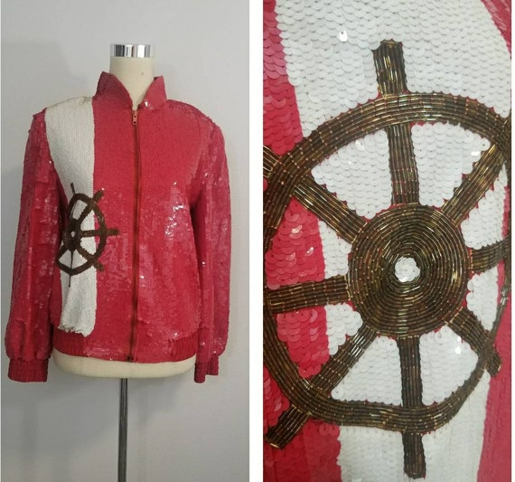 Vintage Sequin and Beaded Bomber Jacket / Nautical