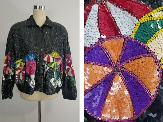 Vintage Sequin Bomber Jacket / Novelty Jacket / Ca