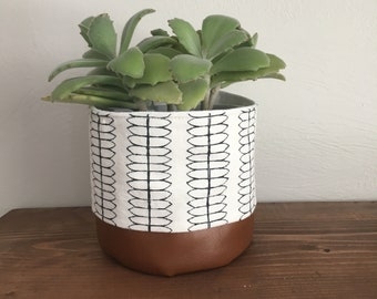 Faux leather/ fabric plant holder
