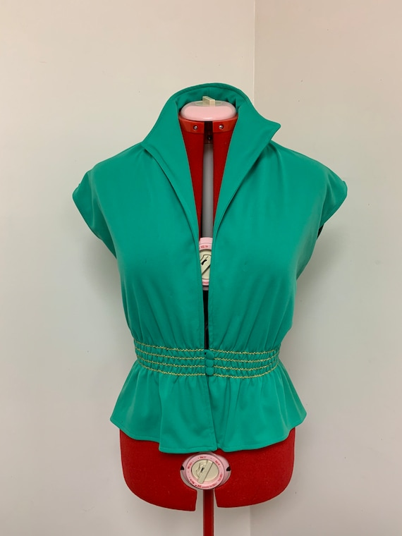 1970s Green Scrunch Christmas Blouse!
