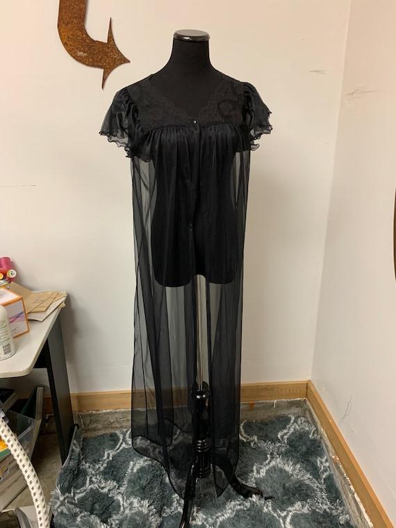 1960s Black Lingerie Robe !