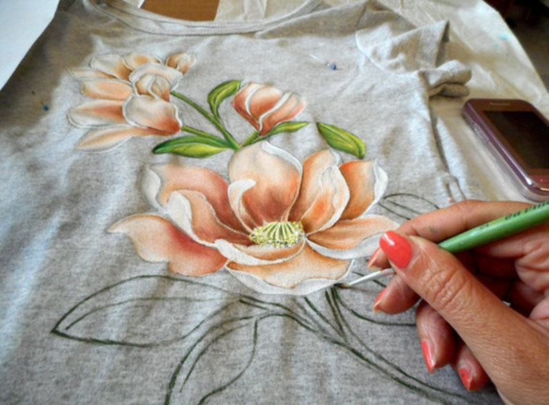 Painting Tutorial On T Shirt How To Paint Magnolia Flowers Etsy