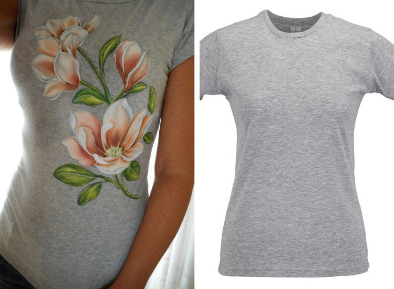 Hand Painted Woman T Shirt With Magnolia Flower Etsy