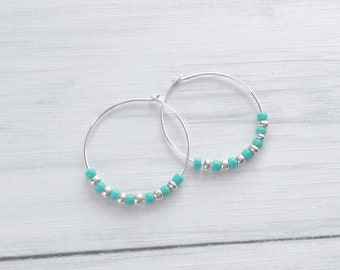 10b21cde2 Silver and Turquoise Hoop Earrings,Silver Hoops,Turquoise Earrings,Beaded  Earrings,Silver Plated Earrings,Hoop with Beads,Thin Hoop Earrings