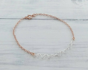 36cb1b631dd Sterling Silver Heart Link Bracelet,Rose Gold Bracelet,Mixed Metals, Chain  Bracelet,Bracelets for Women,Minimalist Bracelet,Heart Bracelet