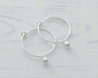 8d5c5e9cb Hoops with Charm,Sterling Silver,Rose Gold,Silver Hoop Earrings,Charm  Earrings, Minimalist Earrings,Simple Hoops, Thin Hoops,Hoops with Bead