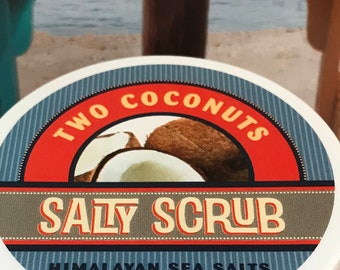 Two Coconuts Salty Body Scrub With Himalayan Salts + Jojoba  &  Coconut Oils  Detox + Exfoliate 8 Oz.