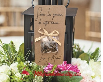 "Card packet of seeds, country wedding, raffia, guests, gifts personalized, ""sow the seeds of love"""