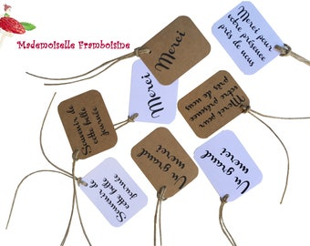 """Set of 8 """"merci"""" tags, wedding, kraft and white, thank you guests"""