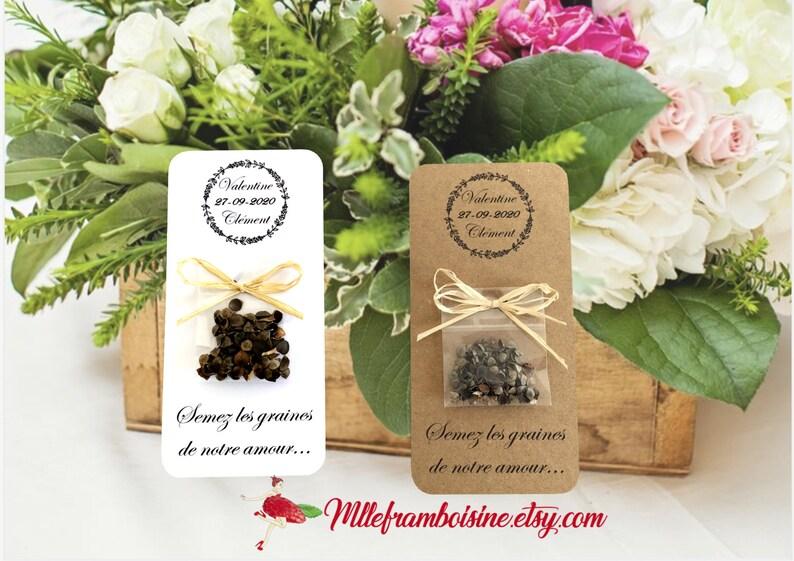 Cadeaux Invités Mariage Sachet De Graines Mariage Nature élégance Coronne Fleur Personnalisation Gratuite