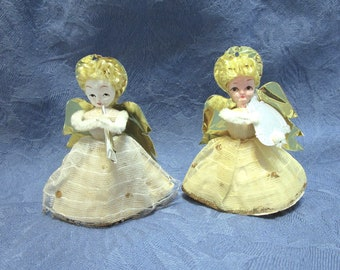 3 paper angels angel decor collectible angels mid century Christmas decor Christmas angels Max Eckardt 1959 collectible paper dolls