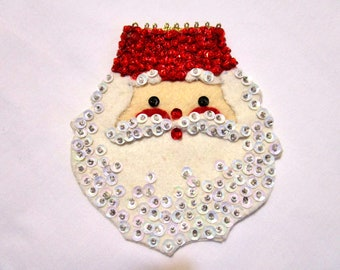 "Vintage Large 5"" Sequin Beaded Christmas Santa Head Applique Sew On Craft NEW"