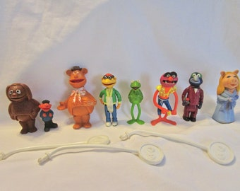 Muppet Stick Puppets Vintage Set of 7 Jim Henson with 3 wands 1976 1978 Muppet Show Figures Toys Plastic