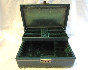 Vintage Thoren Jewelry Box Music Box 2 Tier Dark Green Gold Trim Faux Leather Stardust Velvet Ring Tray Made In Switzerland Travel