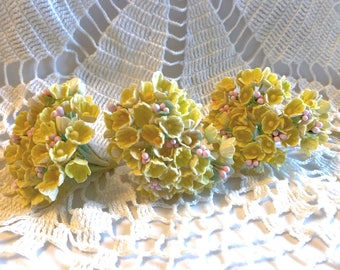 Vintage Forget-Me-Not Flowers Yellow Millinery Hat Making Doll Craft Stems Bouquet Corsage NOS New Old Stock Korea