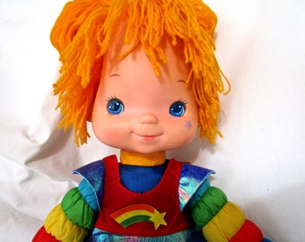 "Vintage Rainbow Brite Doll 18"" Hallmark 1983 80s Plush Original Dress Bright"
