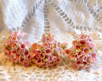 Vintage Forget-Me-Not Flowers Pink Millinery Hat Making Doll Craft Stems Bouquet Corsage NOS New Old Stock Korea