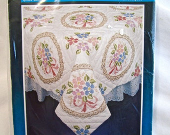 New Vintage Bucilla Stamped Quilt Block Flower Bouquet 63163 Cross Stitch Embroidery