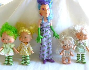 Vintage Strawberry Shortcake Dolls Lot of 5 Baby Apricot Lime Chiffon Angel Cake Lemon Meringue Sour Grapes 1980s