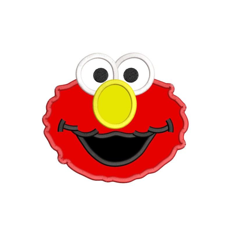 Elmo Sesame Street Head Applique Embroidery Design - Instant Download