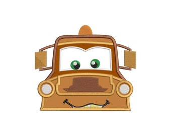 Tow Mater Applique 01 Embroidery Design - INSTANT DOWNLOAD