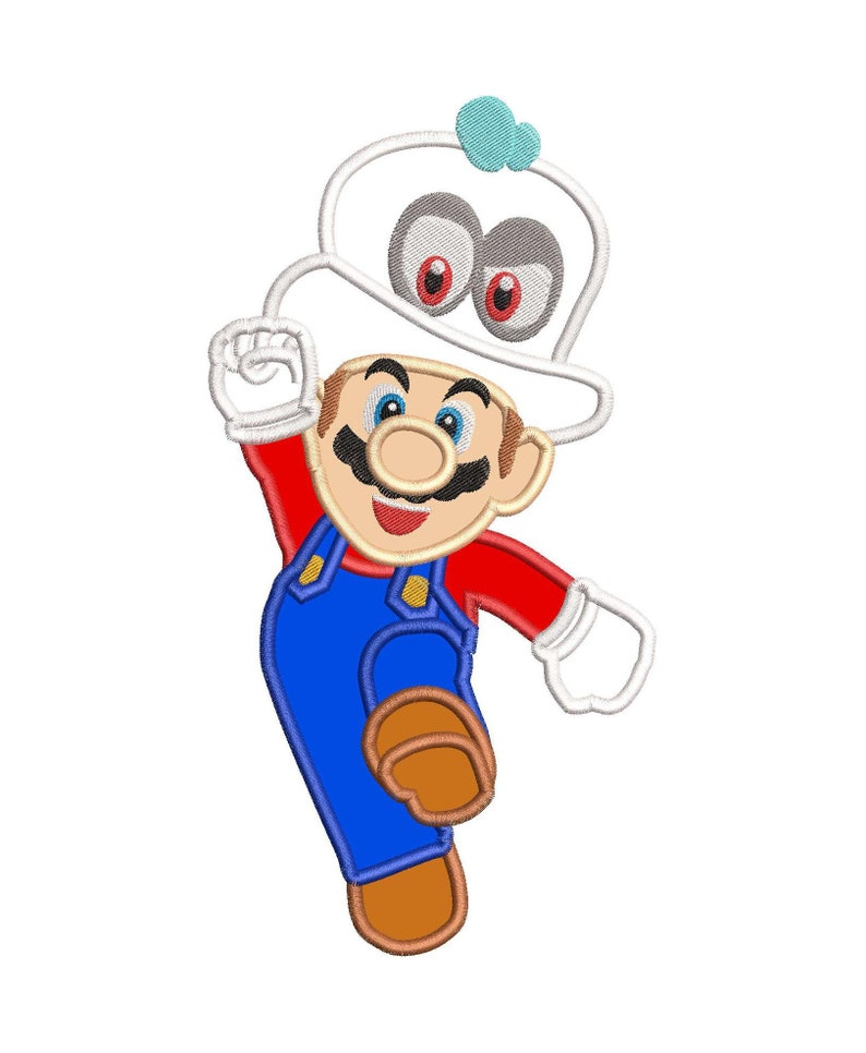 a23fd1d31d7 Super Mario Odyssey With Cappy Hat Applique 01 Embroidery
