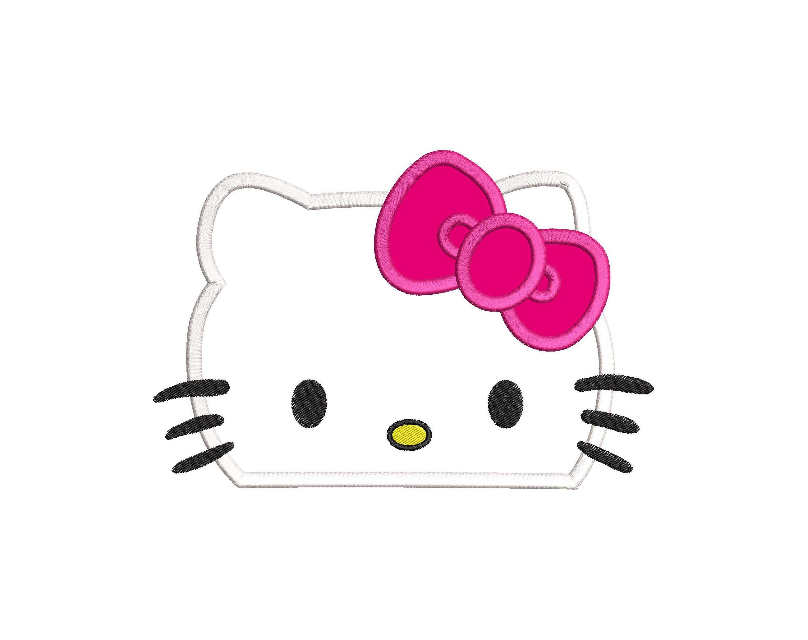 Hello kitty applique embroidery design instant download etsy